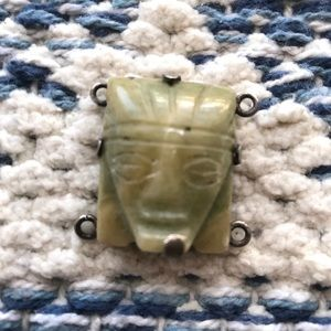 Vintage Natural Carved Stone Pale Green Face Myth